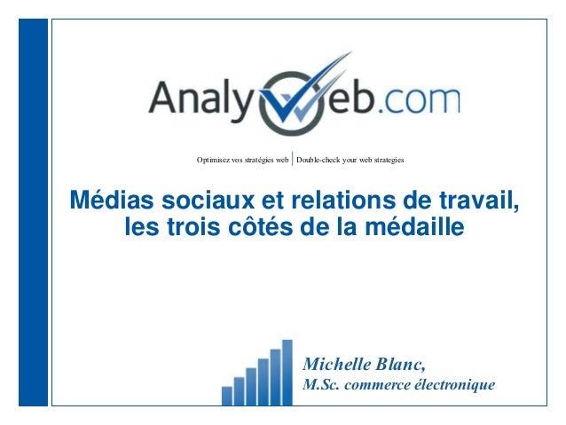 Optimisez vos stratégies web |Double-check your web strategies Michelle Blanc, M.Sc. commerce électronique Médias sociaux ...