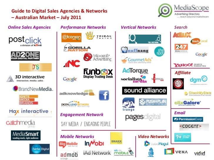 Guide to Digital Sales Agencies & Networks  –  Australian Market – July 2011 Online Sales Agencies Performance Networks Se...
