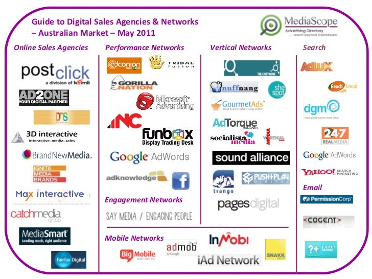 Guide to Digital Sales Agencies & Networks  –  Australian Market – May 2011 Online Sales Agencies Performance Networks Sea...