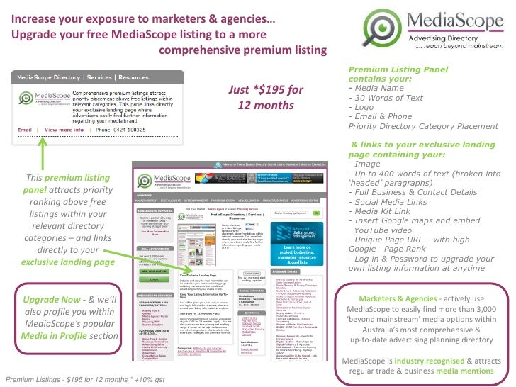 Increase your exposure to marketers & agencies… Upgrade your free MediaScope listing to a more                            ...