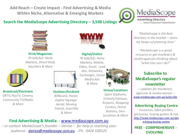 Add Reach – Create Impact - Find Advertising & Media       Within Niche, Alternative & Emerging MarketsSearch the MediaSco...