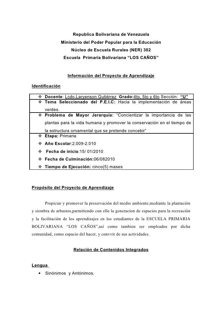 Republica Bolivariana de Venezuela                  Ministerio del Poder Popular para la Educación                      Nú...
