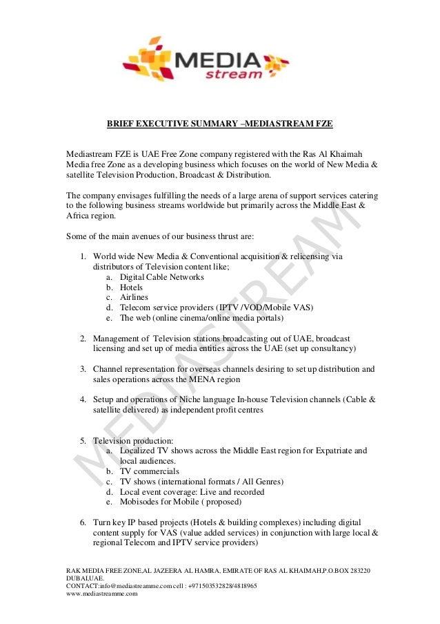 Mediastream Fze Executive Summary  (Abriged) 2010