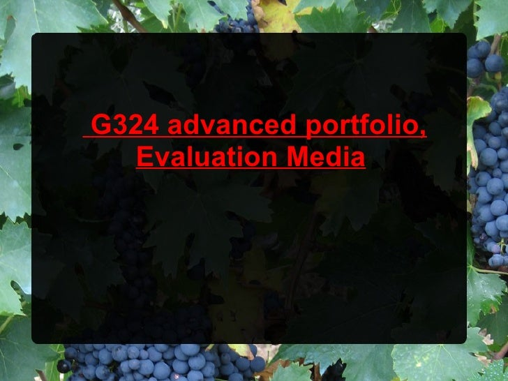 G324 advanced portfolio,  Evaluation Media