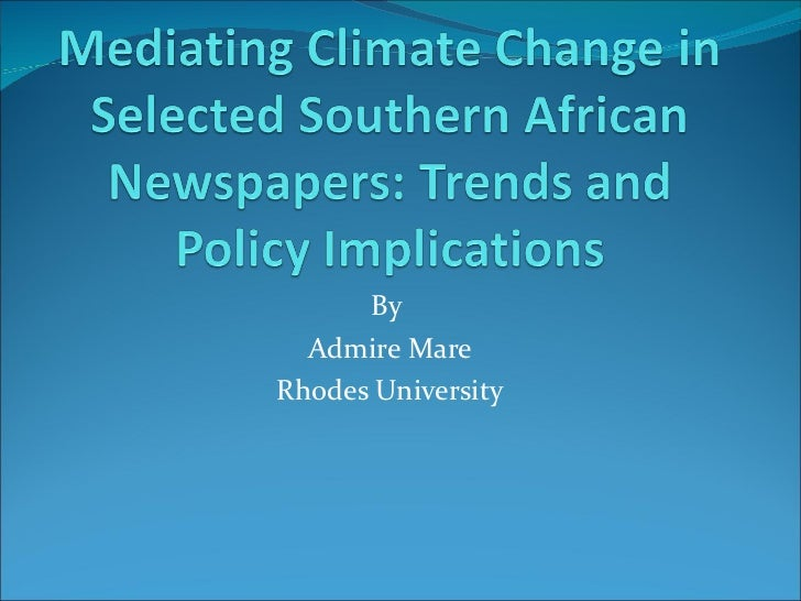 Admire Mare: Mediating climate change in selected southern african newspapers