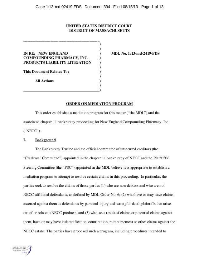 Mediation Order New England Compounding Pharmacy