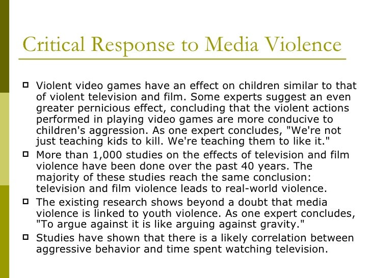 "the influence of violent media on children and adolescents essay Conventional wisdom suggests violent media is harming kids  this is not to say  that games have no effect  that children and adolescents who played more  violent games were likelier to report ""aggressive cognitions and behaviors   indeed, jenkins argued in an essay for pbs, a child who responds to."