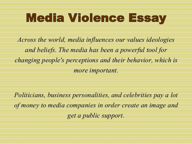 good thesis statement for media violence Thesis statement on media violence your thesis statement should tell your reader what the paper is about and also help guide your writing and keep your argument.