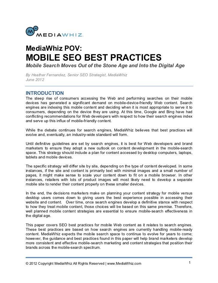MediaWhiz POV: Mobile SEO Best Practices