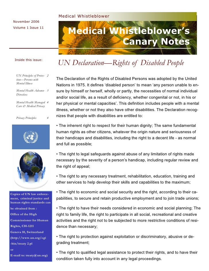Medical  Whistleblower  Canary  Notes  Newsletter 11  Psychiatric  Rights & The  Law  Nov 2006   Vol 1  Issue 11