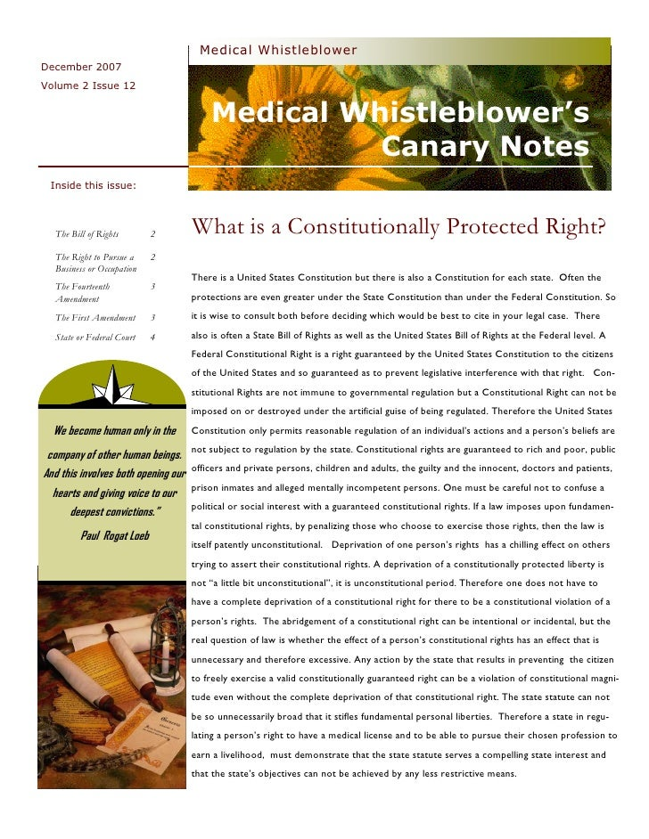 Medical  Whistleblower  Canary  Notes  Newsletter 24  Constitutional  Law  December 2007  Vol. 2  Issue 12