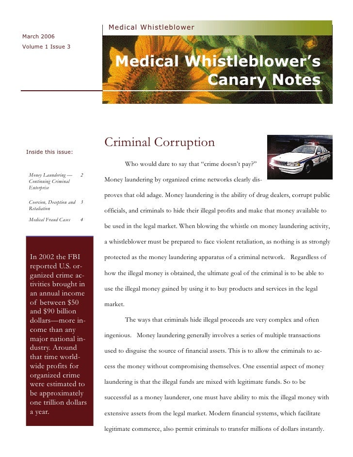 Medical  Whistleblower  Canary  Notes  Newsletter 3  Criminal  Corruption  March  2006  Vol 1  Issue 3