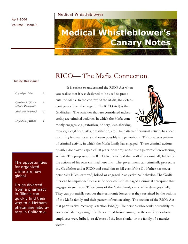 Medical  Whistleblower  Canary  Notes  Newsletter 4  Criminal  R I C O  April  2006  Vol 1  Issue 4
