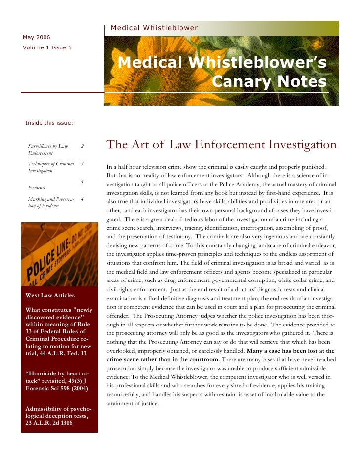 Medical  Whistleblower  Canary  Notes  Newsletter 5   Investigation   Techniques   May  2006  Vol 1  Issue 5