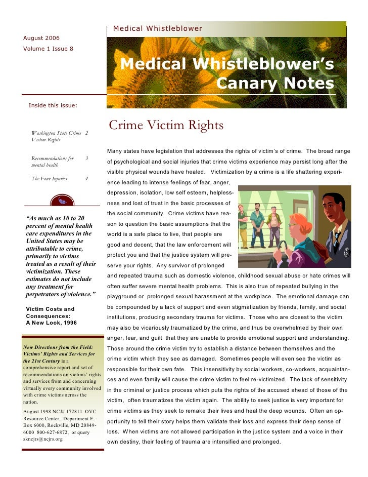 Medical  Whistleblower  Canary  Notes  Newsletter 8  Crime  Victim
