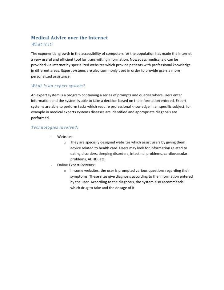 Medical Advice Over The Internet (Benjamin & David)