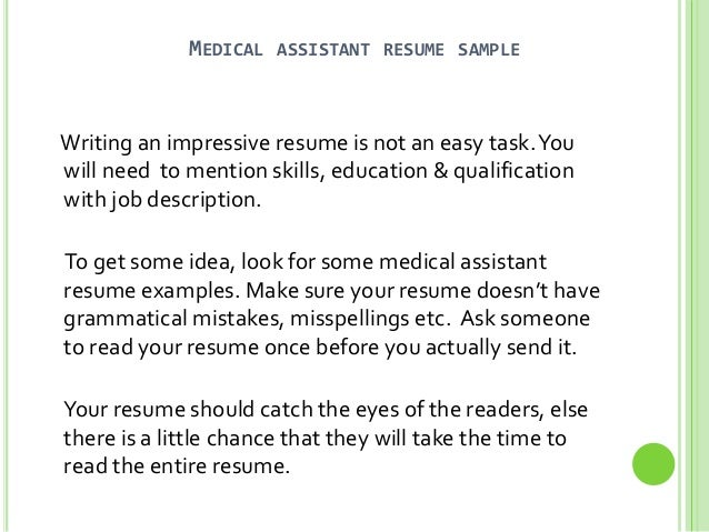 how to make a resume for a medical assistant