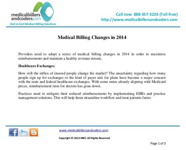 Medical billing changes in 2014