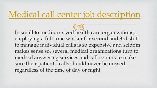Medical call center job description