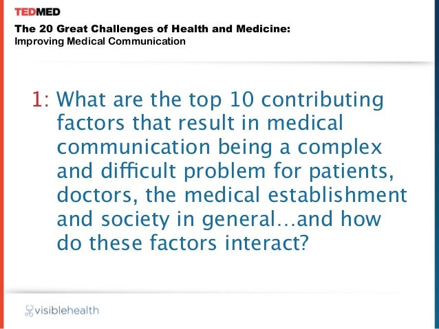 The 20 Great Challenges of Health and Medicine:Improving Medical Communication  1: What are the top 10 contributing     fa...