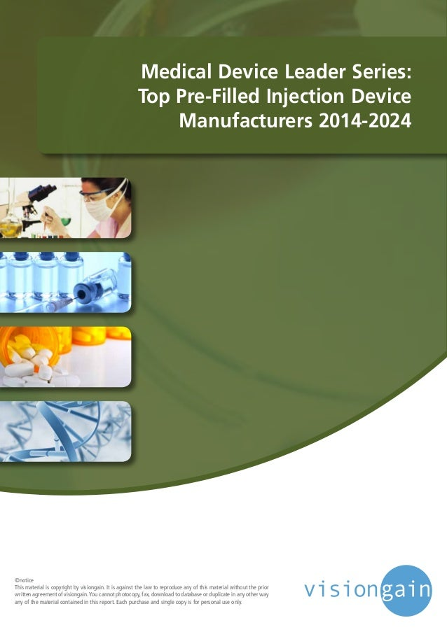 Medical Device Leader Series: Top Pre-Filled Injection Device Manufacturers 2014-2024 ©notice This material is copyright b...