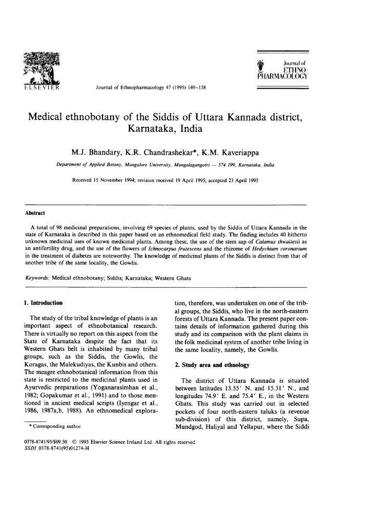 Medical ethnobotany of siddis of uttara kannada