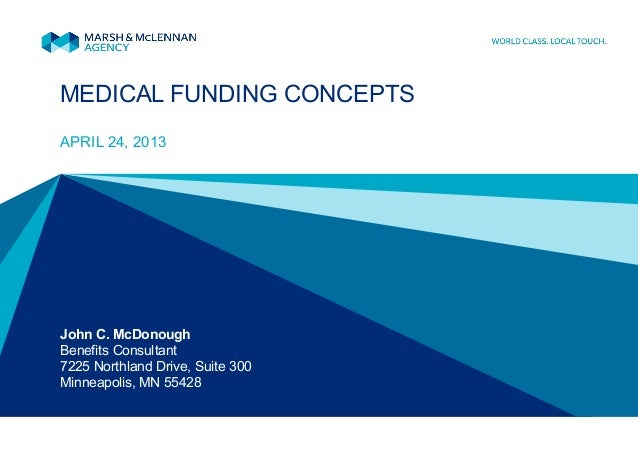 MEDICAL FUNDING CONCEPTSAPRIL 24, 2013John C. McDonoughBenefits Consultant7225 Northland Drive, Suite 300Minneapolis, MN 5...