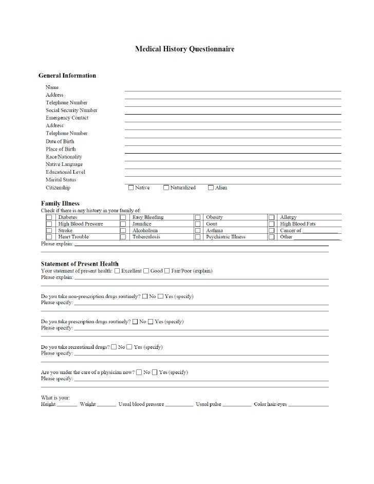Medical history questionaire