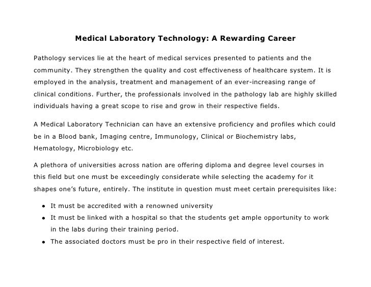 Medical laboratory technology a rewarding career
