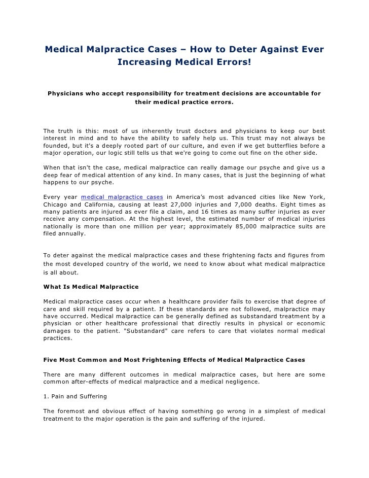 Medical malpractice cases – how to deter against ever increasing medical errors!