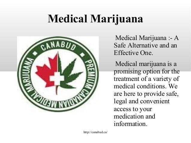 Medical Marijuana Medical Marijuana :- A Safe Alternative and an Effective One. Medical marijuana is a promising option fo...