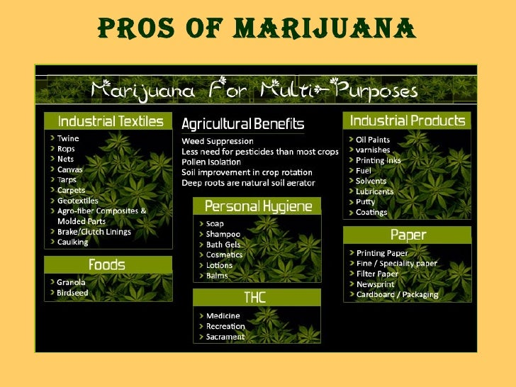 cons for marijuana A new pew research center survey on the nation's drug policies has found a continued support for legalizing marijuana 6 facts about marijuana by seth motel.