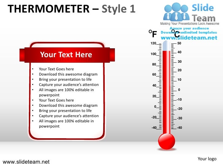 Medical patient measuring thermometer style design 1 powerpoint presentation templates.