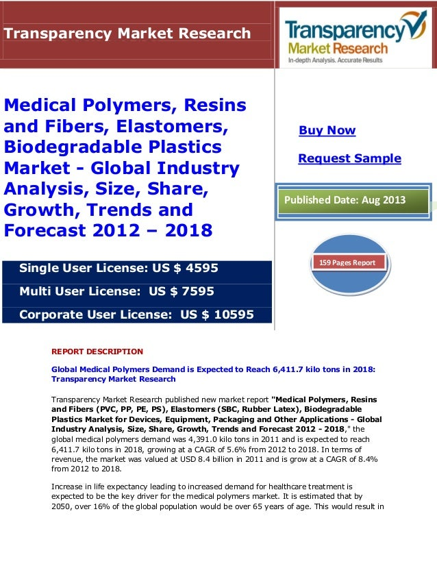 REPORT DESCRIPTION Global Medical Polymers Demand is Expected to Reach 6,411.7 kilo tons in 2018: Transparency Market Rese...