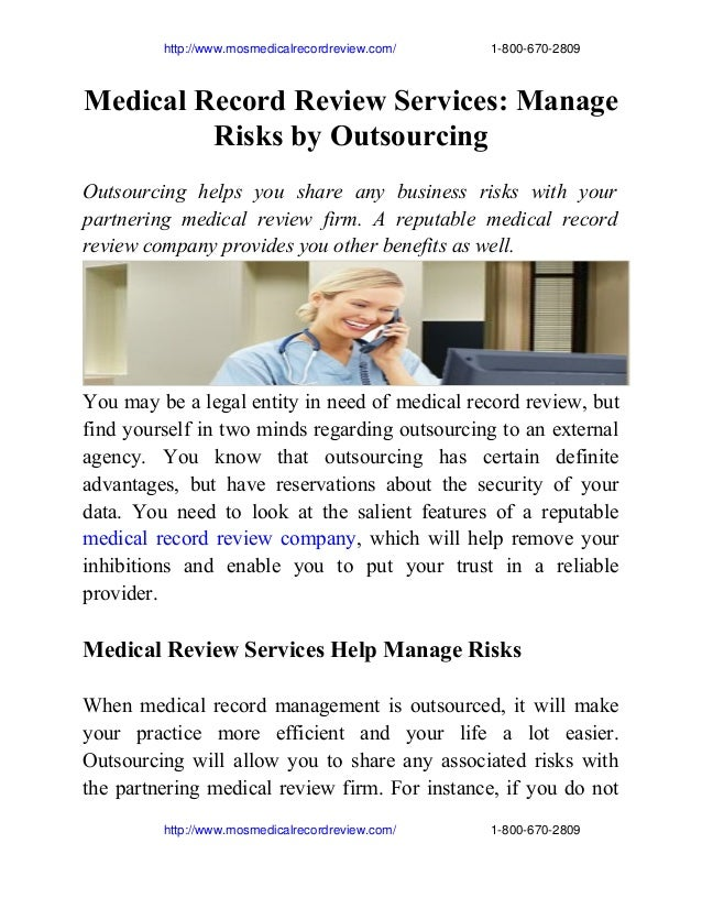 Medical record review services manage risks by outsourcing