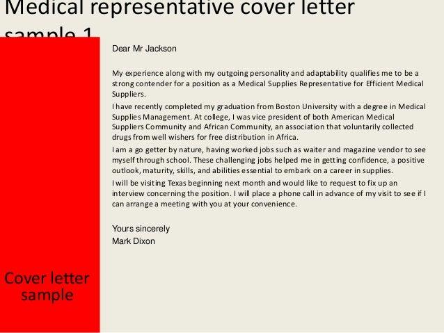 Sample cover letter medical sales