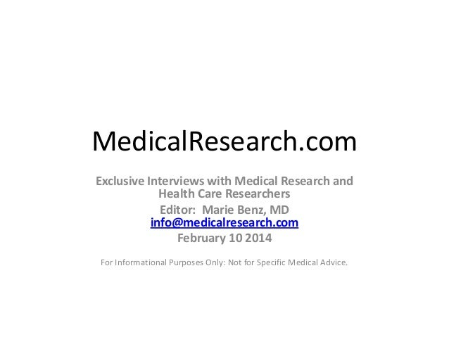 MedicalResearch.com:  Medical Research Interviews Month in Review