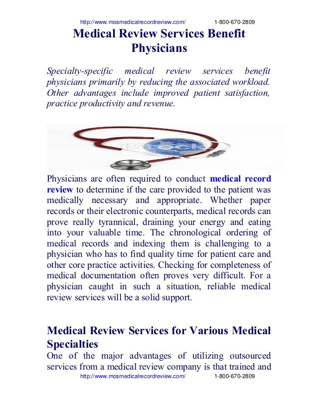 Medical review services benefit physicians