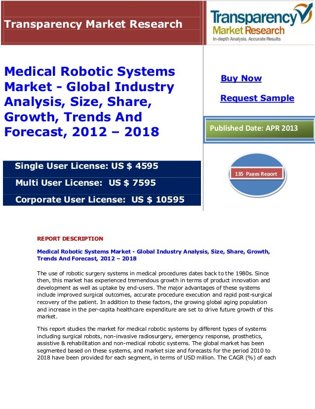 REPORT DESCRIPTIONMedical Robotic Systems Market - Global Industry Analysis, Size, Share, Growth,Trends And Forecast, 2012...