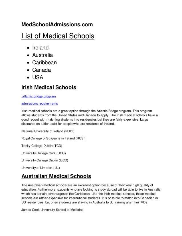 MedSchoolAdmissions.com List of Medical Schools  Ireland  Australia  Caribbean  Canada  USA Irish Medical Schools atl...