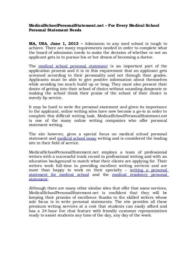Personal Statement Medical School Essay