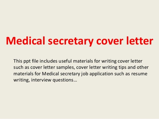 Medical secretary cover letter sample