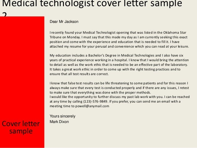 cover letter medical technologist Learn how to report and record your accomplishments in the lab with this sample resume for a medical technologist cover letter from the experts at medical.