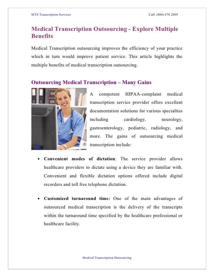 MTS Transcription Services                                              Call: (800) 670 2809Medical Transcription Outsourc...