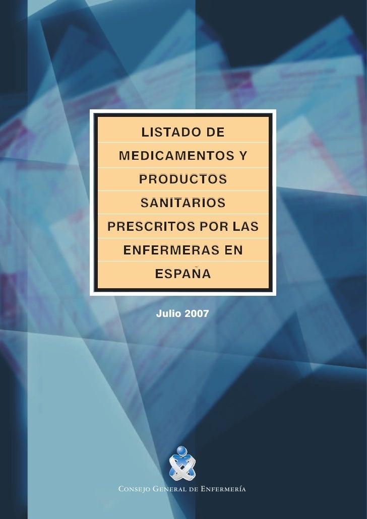 LISTADO      LISTADO DE MEDICAMENTOS Y     PRODUCTOS     SANITARIOS     SANITARIOSPRESCRITOS POR LAS ENFERMERAS EN        ...