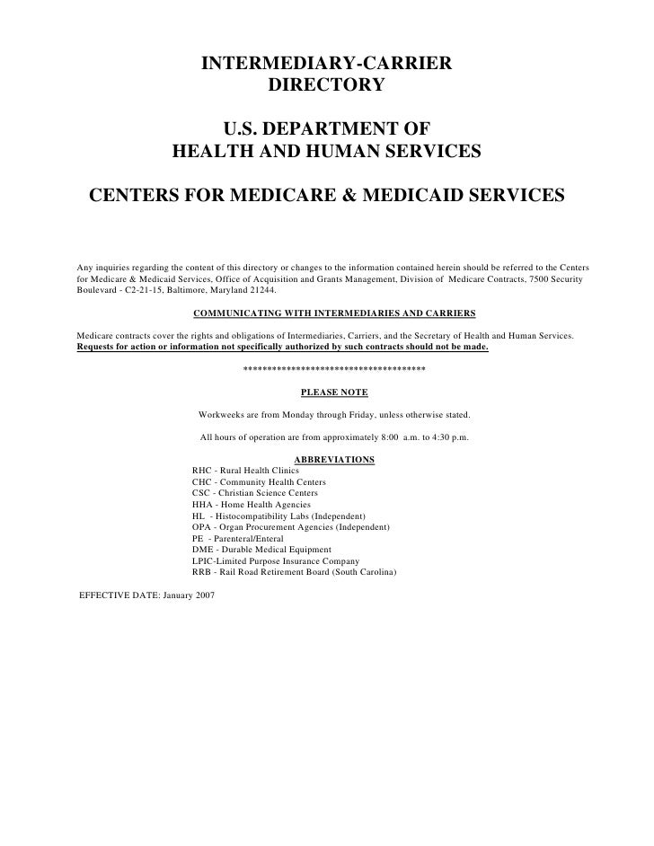 INTERMEDIARY-CARRIER                                      DIRECTORY                              U.S. DEPARTMENT OF       ...