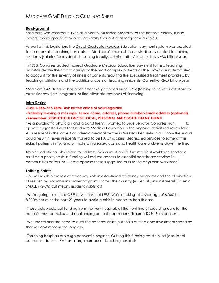 Talking Points - Graduate Medical Education Funding Cuts