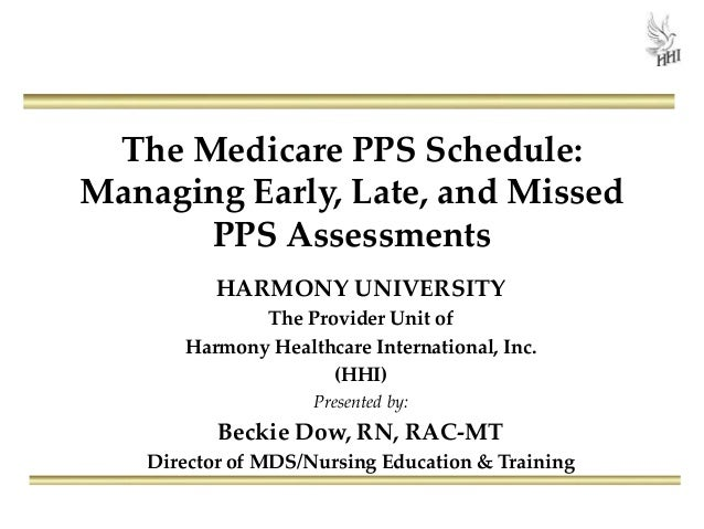 The Medicare PPS Schedule: Managing Early, Late, and Missed PPS Assessments HARMONY UNIVERSITY The Provider Unit of Harmon...