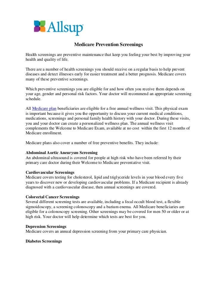 Medicare prevention screenings