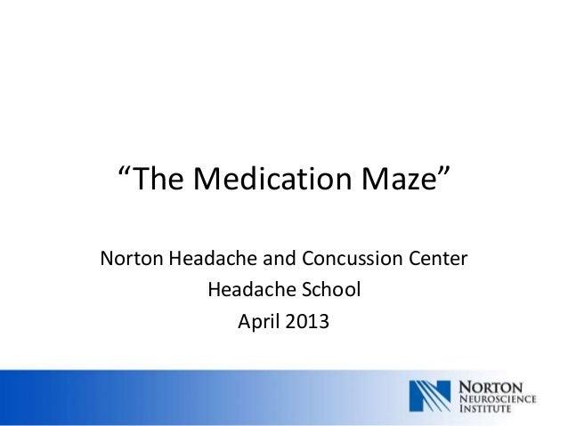 """""""The Medication Maze""""Norton Headache and Concussion Center          Headache School             April 2013"""